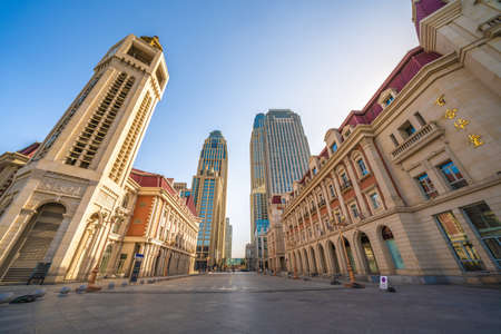 TIANJIN, CHINA - NOVEMBER 18: View of traditional European style architecture along the riverside area on November 18, 2019 in Tianjin Stock Photo - 147381508