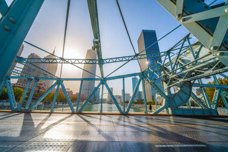 TIANJIN, CHINA - NOVEMBER 18: This is Jiefang Bridge, a famous landmark along the Hai River in the downtown area on November 18, 2019 in Tianjin Editorial