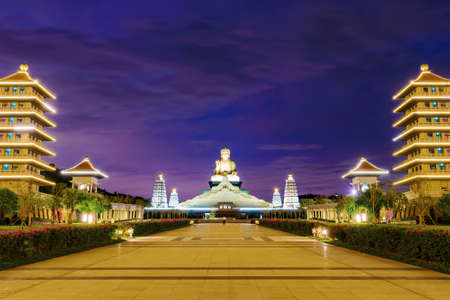 Fo Guang Shan night view with pagoda buildings