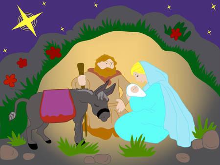 Cartoline raffigurante la nascita di Gesù Cristo. Vector. Archivio Fotografico - 4001027