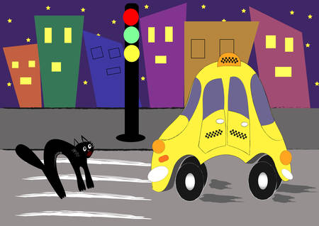Illustrations history took place at night, taxis ispugalos a black cat ... or cat scared taxi. You decide. But at home a long time to fall asleep)). Vector.