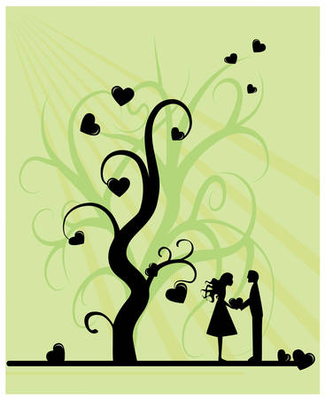 The tree of love which comes under the most beautiful and memorable moment in life. Vector illustration.