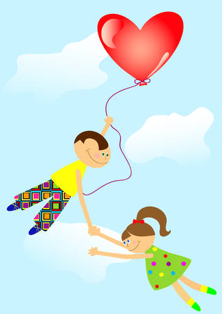 Boy and girl in the air for the ball. It is easy to fly if the wings - love. Vector. Vector