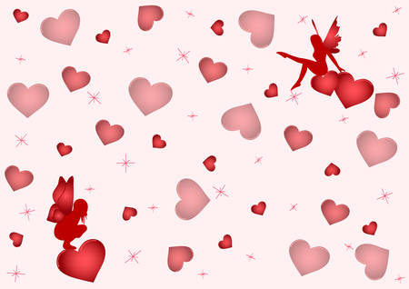 Background with a lot of hearts and two lovely fairies. Vector Vector
