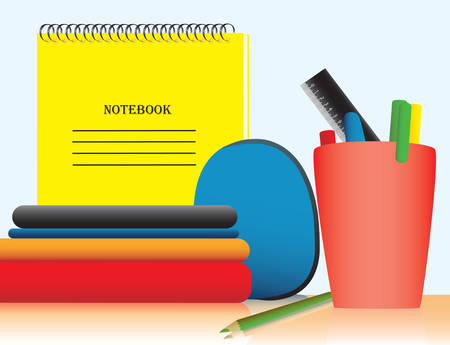 A table with the office, pens, books and notebooks. Vector