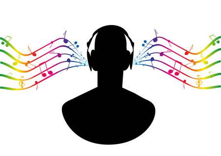 Silhouette man in headphones, listening to music. Vector