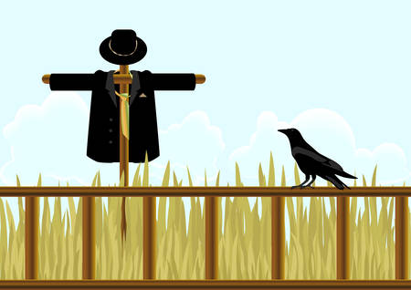 Field, scarecrow in a suit and a crow. Vector  Vector