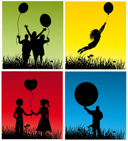 People with balls in four variants. Vector