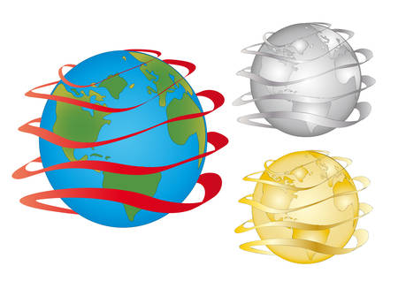 Globe wrapped up around a tape. In three colours. Vector