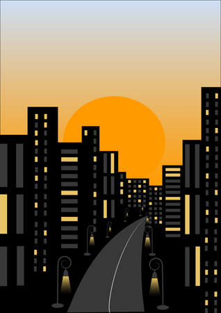 Outline the evening city Vector