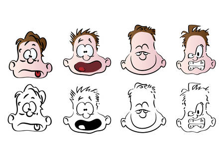 enraged: Illustration of facial expressions. Vector.