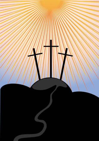 Calvary, an illustration of the crucifixion. Vector Vector
