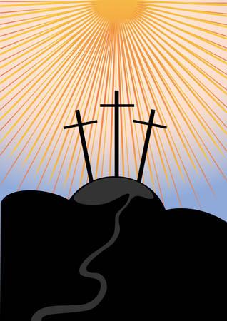 calvary: Calvary, an illustration of the crucifixion. Vector