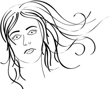 penetration: The girls face close up. Vector. Illustration
