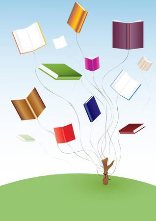 seize: Flying books. vector. Illustration