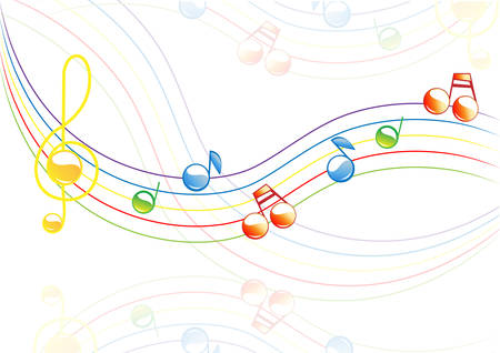 half note: Vector Colored merry notes