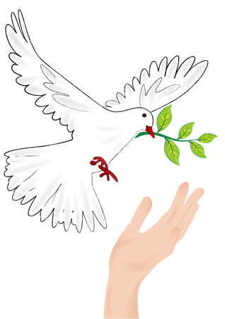 covenant: Dove with a twig in its beak sitting down at the hand vector.