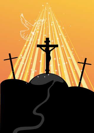 dramatic sky: Calvario, una ilustraci�n de la crucifixi�n. Vector Vectores