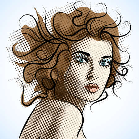 close up face: Beautiful portrait of a girl. Illustration