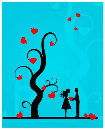 Couple under a tree   Vector