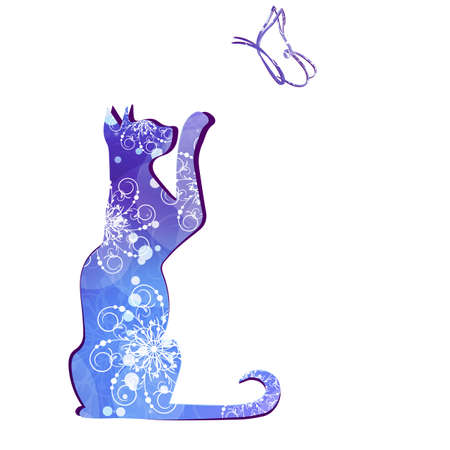 butterfly tail: Black silhouette of cat. Vector illustration. Illustration