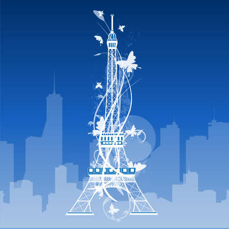 built tower: Eiffel tower isolated over the white background