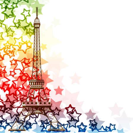 에펠 탑은 흰색 배경 위에 절연