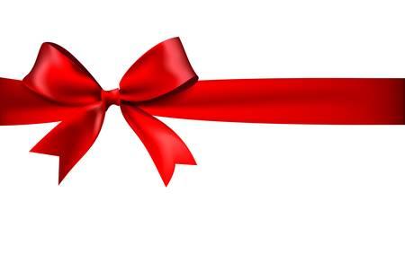 光沢のある白い背景に赤いサテンのリボン。10 eps