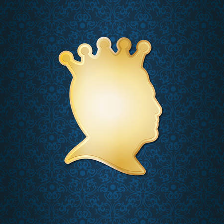 man profile: profile of a man wearing a crown Illustration