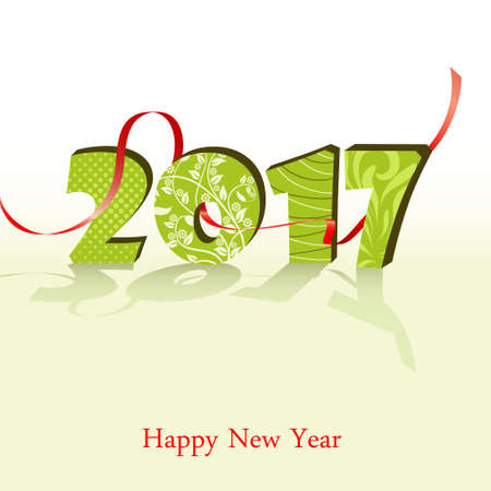 Happy New Year 2017 background. Calendar template. Greeting card. Vector illustration