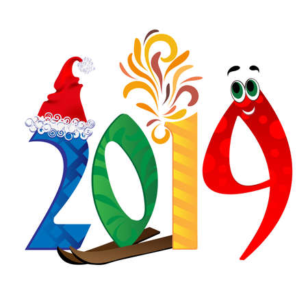 2019 New Year on the background of a colorful Vector illustration EPS10 Banco de Imagens