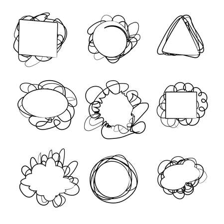 Stickers drawn in pencil. Vector illustration