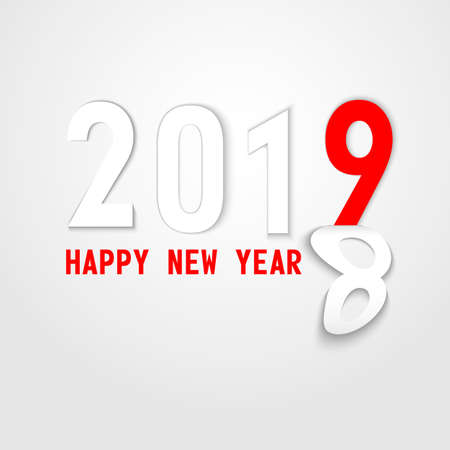 2019 New Year on the background figures on paper, paging Vector illustration EPS10