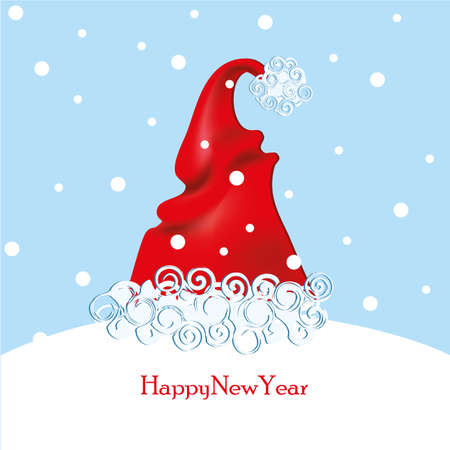 2019 New Year on the background Santas cap, the shape of the New Year tree Vector illustration EPS10