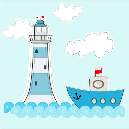 A boat and lighthouse in an ocean on a sunny day with clouds