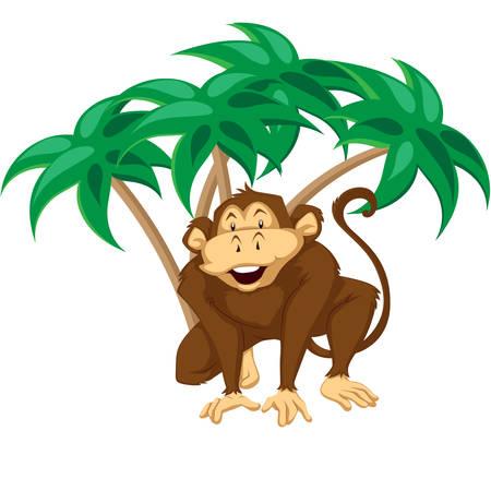 Cartoon monkey sitting on white background with palms.