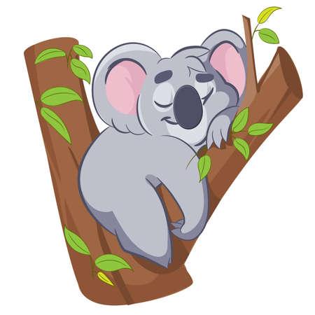 Vector illustration of smiling cute cartoon koala. Vector illustration.