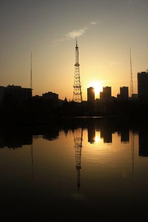 Morning scenery reflection to lake Zdjęcie Seryjne