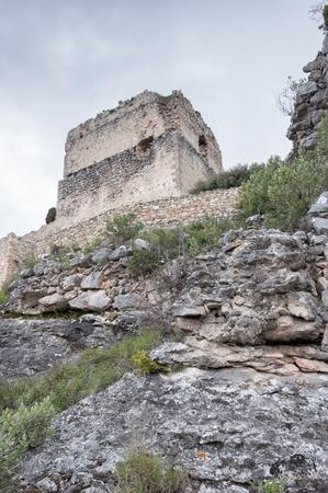 donjon: Ocio castle tower in ruins, Basque country Stock Photo
