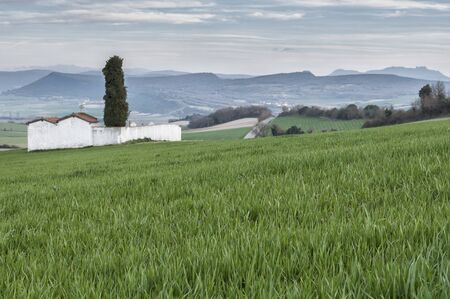 alava: Cemetery in the green field in the Basque Country Stock Photo