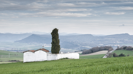 alava: Cemetery in the heath of the valley in the Basque Country Stock Photo