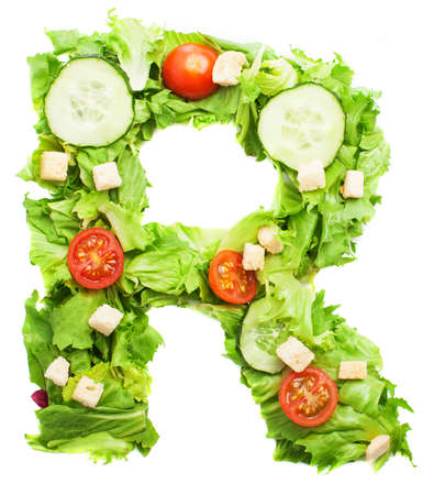 r sliced: R letter made with salad isolated on white