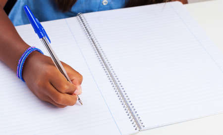 write background: girl doing homework on a white background