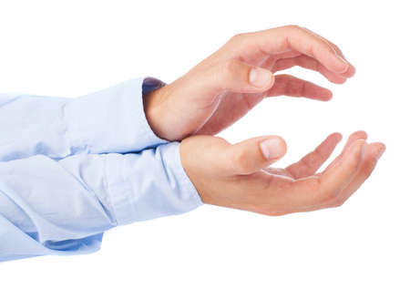 cupped hands: hands holding something on a white background