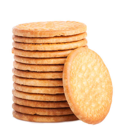tower of biscuits isolated on a white background Stok Fotoğraf