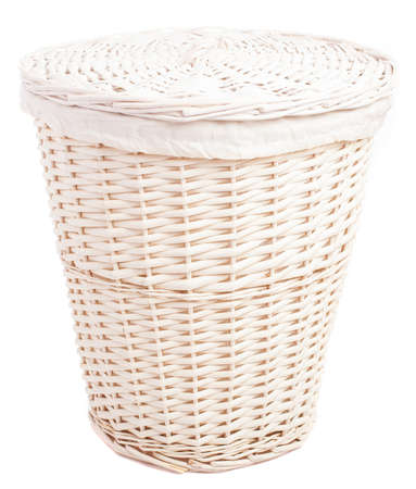 white wicker basket empty on a white background