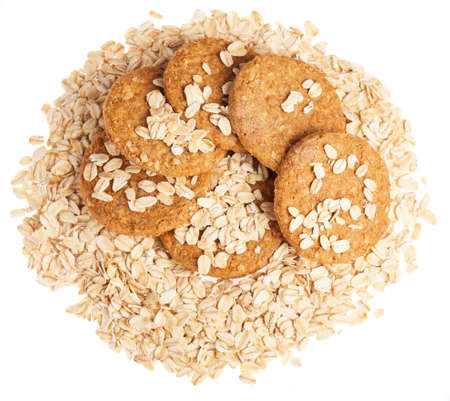 heap of oats and biscuits on a white background photo
