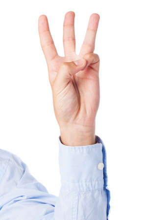 hand counting three on a white background photo