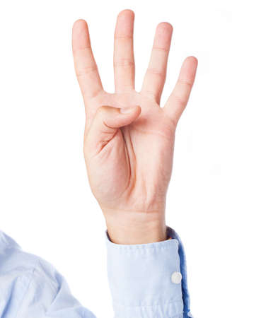 hand counting four on a white background photo