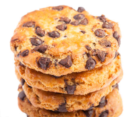 pile of chocolate cookies on a white background Stock Photo